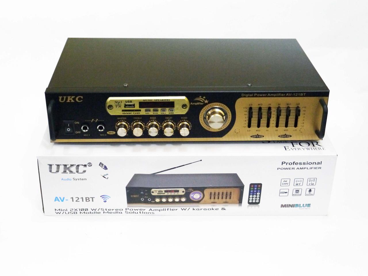 Підсилювач звуку UKC AV-121BT Bluetooth USB + Караоке