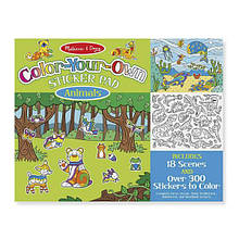 Melissa & Doug Набор раскрашиваемых наклеек животные 300шт Color Your Own Sticker Pad Animals Sticker Pad