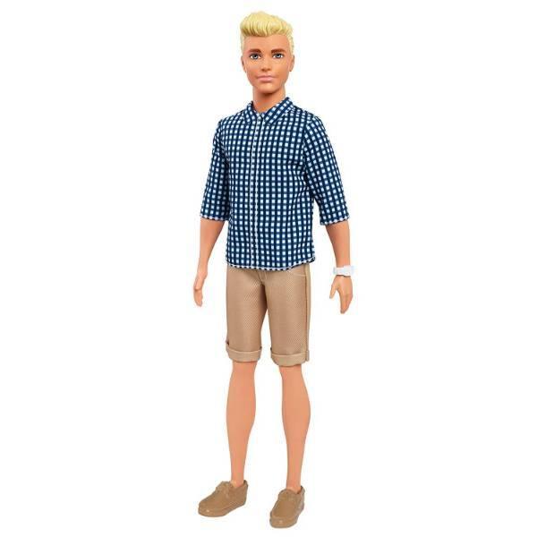 Barbie Кен Модник синяя рубашка в клетку и шорты FNH39 DWK44 Ken Fashionistas Preppy Check Doll