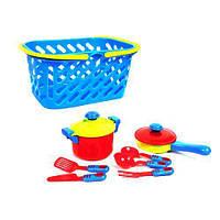 Набор посуды в корзинке (синий) 7 шт Kinderway KW-04-435 ( TC103694)