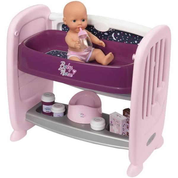 Smoby Кровать для куклы пупса с полкой и съемным столиком Прованс 220353 Baby Nurse provans
