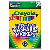Crayola смываемые маркеры фломастеры 12 цветов тонкая линия Ultra-Clean Markers Fine Line Washable 12ct Classic Colors