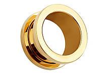 Тоннели в ухо из нержавеющей стали 6 мм 2 шт. 6 мм Золотой