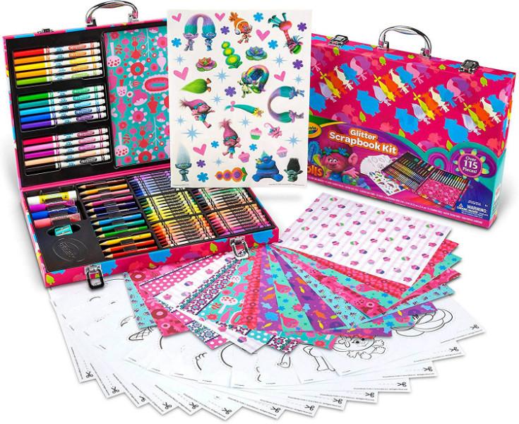 Crayola набор для творчества в чемодане кейсе скрапбукинг тролли Trolls Glitter Scrapbook Kit