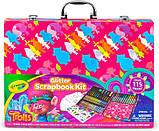 Crayola набор для творчества в чемодане кейсе скрапбукинг тролли Trolls Glitter Scrapbook Kit, фото 3
