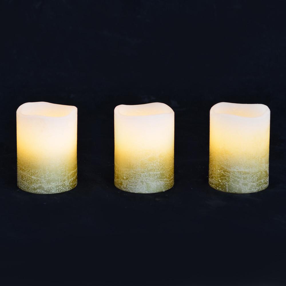 Набір свічок Yes Fun віск. LED 3шт. 5*6.5 золото код: 710341