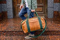 Коричневая дорожная сумка, Спортивная мужская сумка из винтажной кожи, фото 1