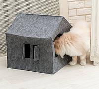 Домик для животных Digitalwool Теремок с окошком и подушкой Серый DW-92-02, КОД: 1103743