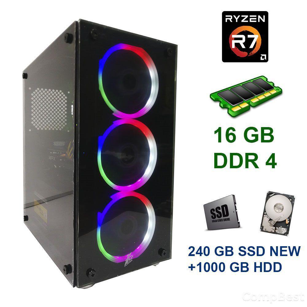First Player ATX NEW / AMD Ryzen 7 2700 (8 (16) ядер по 3.20 - 4.10 GHz) / 16 GB DDR4 / 240 GB SSD NEW+1000 GB HDD / AMD Radeon RX 470, 8 GB GDDR5,