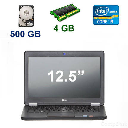 "Dell Latitude E5250 / 12.5"" (1366x768) / Intel Core i3-5010U (2 (4) ядра по 2.10 GHz) / 4 GB DDR3 / 500 GB HDD / Webcam, фото 2"