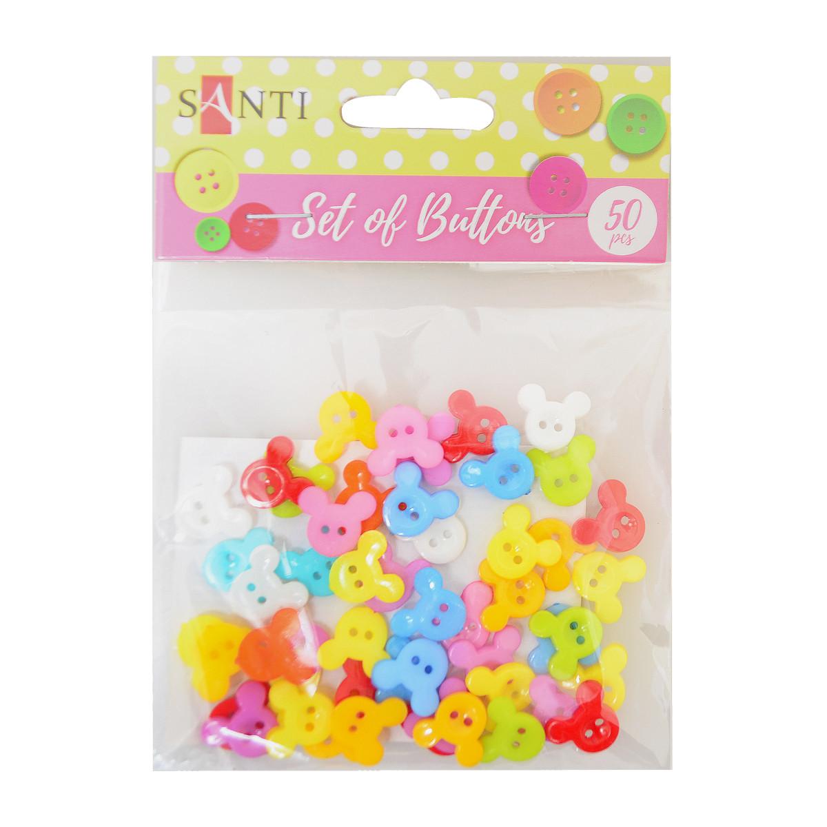 Набір гудзиків Santi Little mouse пластик 15 мм 10 кольорів 50шт./уп. код: 742489