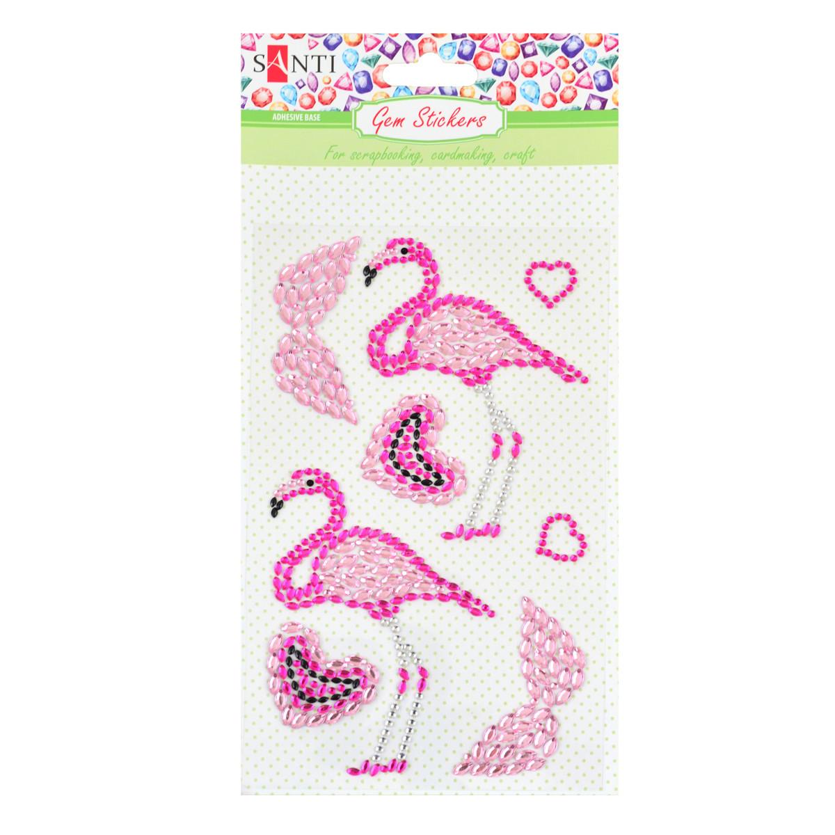 Набор аппликаций Santi из кристаллов самоклеющихся «Two flamingos», 9.5*15 см. код: 742534