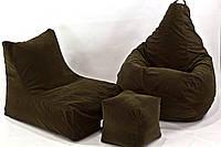 Набор бескаркасной мягкой мебели  кресло  диван, пуфик XL
