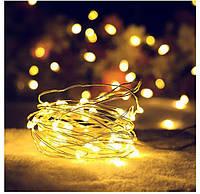Гирлянда на батарейках 2м, капля, новогодние украшения для декора, цвет тепло-белый, 20 led