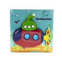 """Деревянная рамка с вкладышами-пазлами """"Подводная лодка"""" 5 деталей С36031 7Toys (TC105442)"""