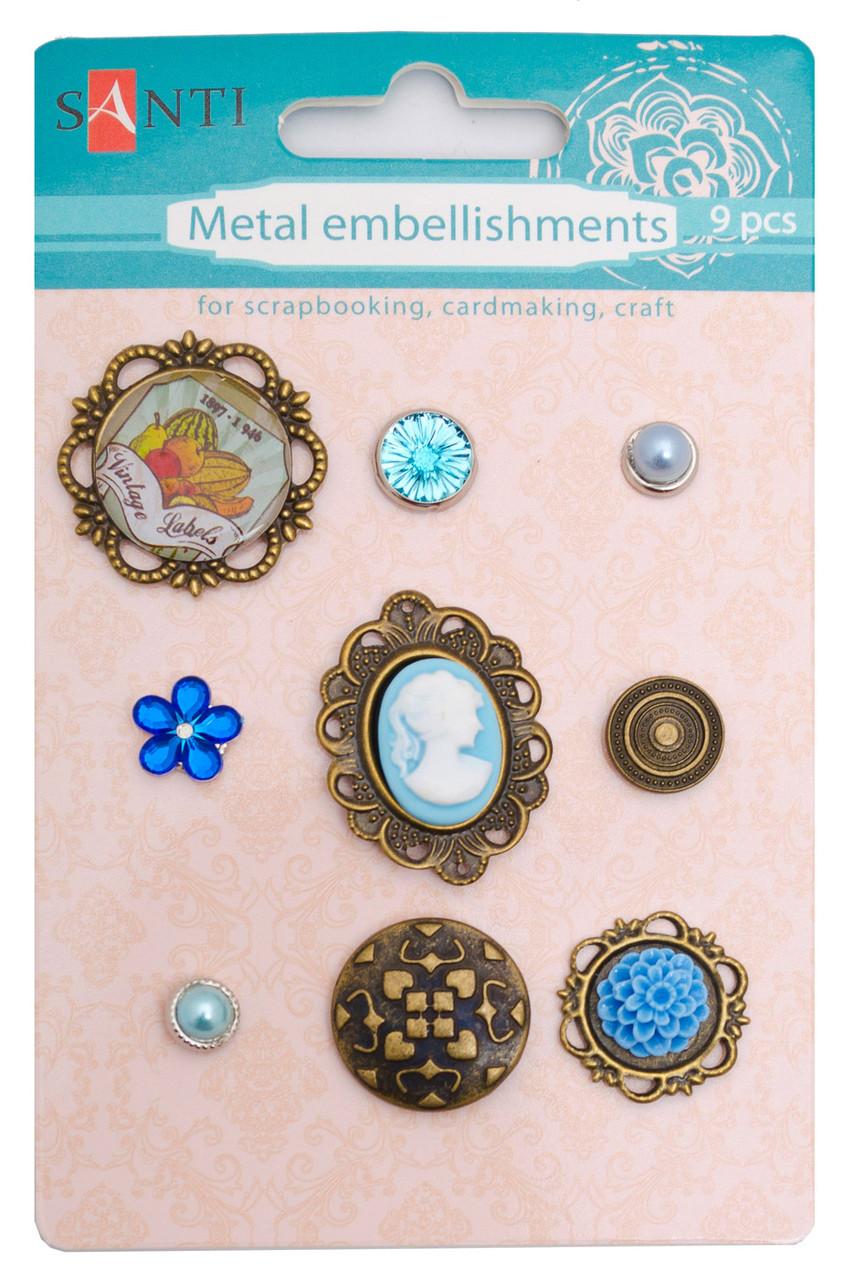 Набор украшений металлических (брадсы) Голубые камеи, 9 шт код: 952587