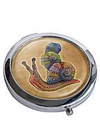 Зеркальце косметическое DevayS Maker DM 01 D 7 см Улитка Коричневое 22-08-429, КОД: 1238773