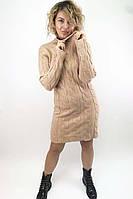 Теплое трикотажное платье с косами P-M - кофейный цвет, M/L (есть размеры)