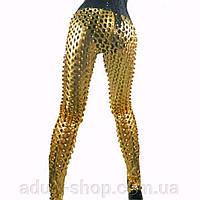 Золотистые стильные леггинсы