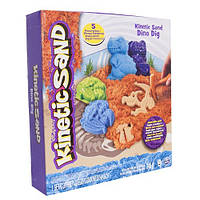 Набор песка для детского творчества - KINETIC SAND DINO (голубой , коричневый, аксессуары, 340 г)