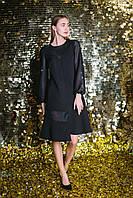 Платье черное с асимметричным низом и объемными шифоновыми рукавами 5569, 42