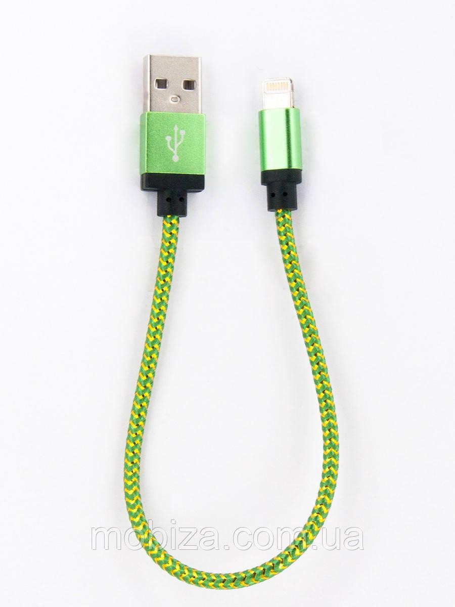 Кабель FINE LINE  заряду та синхронизації  Lightning (в оплете, зелений, 20 см) (FL-NTK-L-SHRT-GD-GREEN)