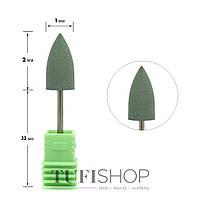 Фреза для маникюра силиконовая средняя острая, зеленая
