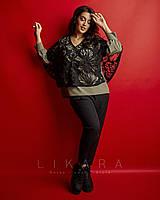 Женский,стильный брючный костюм, ткань  костюмка стрейч,размеры 58,60,62 (.924)черный,хаки