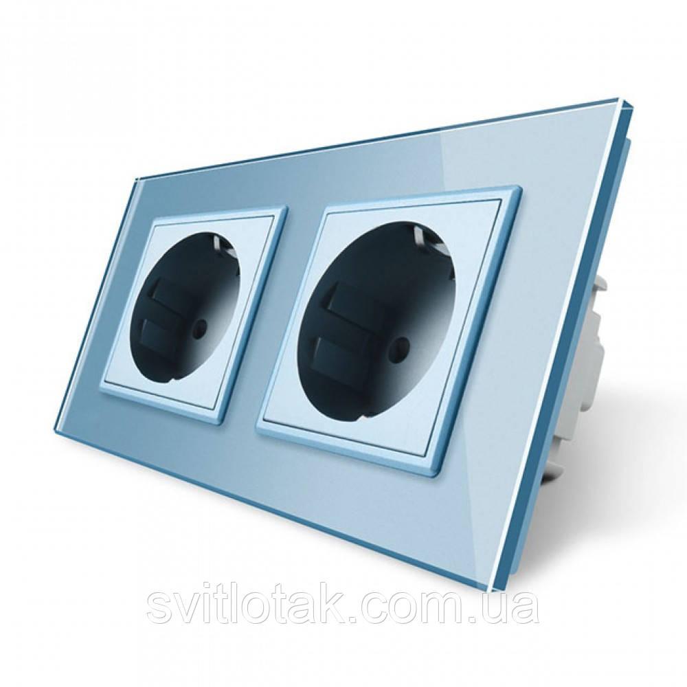 Розетка двойная с заземлением Livolo голубой защитные шторки рамка стекло 16А (VL-C7C2EU-19)