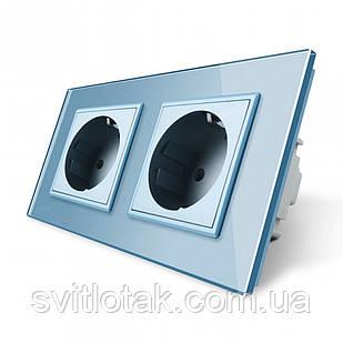 Розетка подвійна з заземленням Livolo 16А блакитний скло (VL-C7C2EU-19)