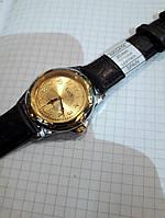 Механические мужские часы стильные Luch 905 Беларусь с золотистым циферблатом диаметр 4 см