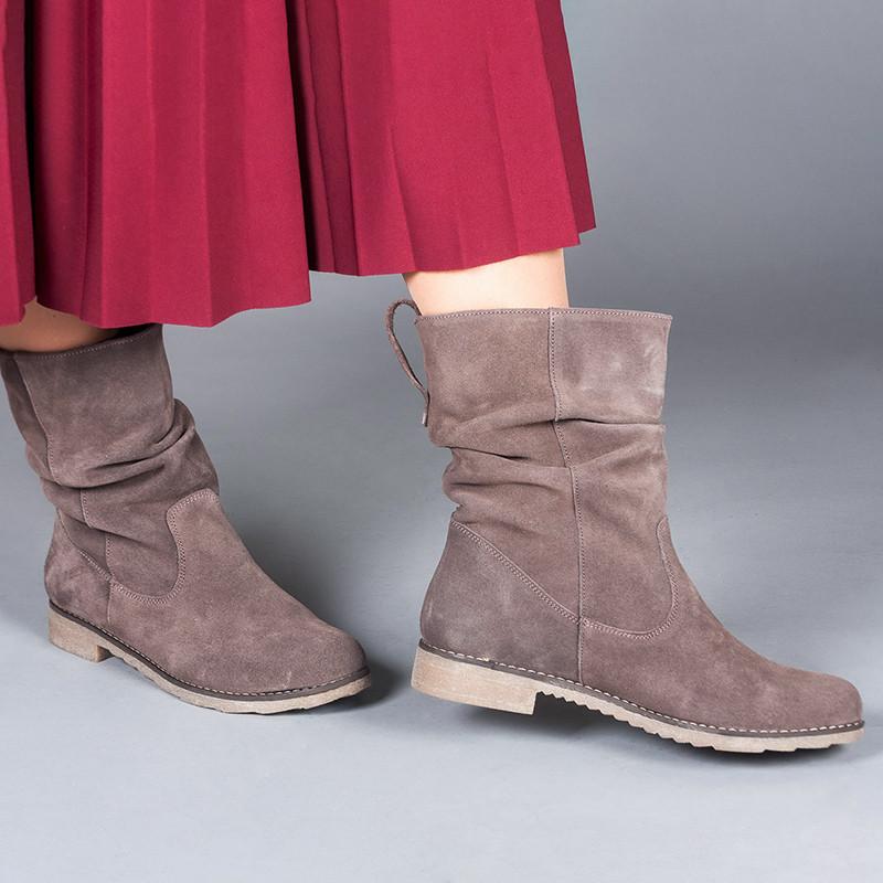 Ботинки замшевые женские на низком каблуке