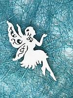 Новогодний декор - фея, из дерева, 6,7Х3,8 см., цвет белый