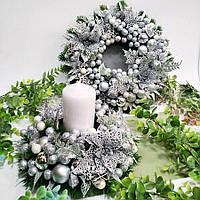 Новорічна композиція срібна, фото 1