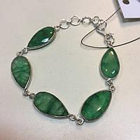 Красивый браслет с изумрудным кварцем. Браслет с натуральным камнем изумрудный кварц Индия в серебре