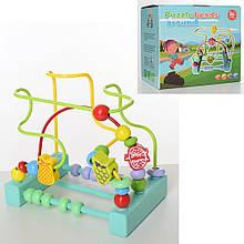 Деревянная игрушка Лабиринт каталка на проволоке 19-16,5-13см