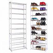 Стойка подставка для обуви органайзер на 30 пар обуви 10 полок Amazing Shoe Rack белая