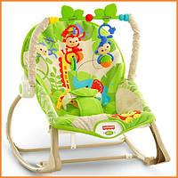 """Детское массажное кресло качалка, шезлонг Fisher Price """"Тропические друзья, Rainforest Friends"""""""