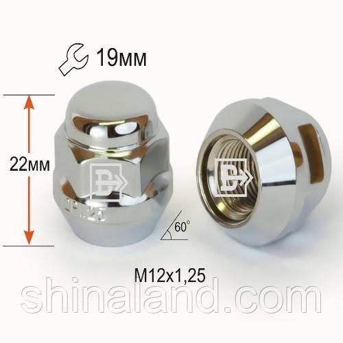 Гайки колесные M12x1,25x22; Хром, Конус, ключ 19 (закрытые), Крепеж колес 402244 Cr - шт.
