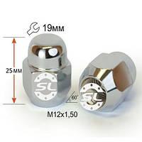 Гайки колесные M12x1,5x25; Хром, Конус, ключ 19 (закрытые), Крепеж колес 601145 Cr - шт.