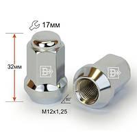 Гайки колесные M12x1,25x32; Хром, Конус, ключ 17 (закрытые), Крепеж колес 311344 Cr - шт.