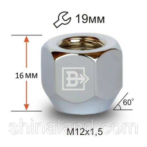 Гайки колесные M12x1,5x16; Хром, Конус, ключ 19 (открытые), Крепеж колес 600045 Cr - шт.