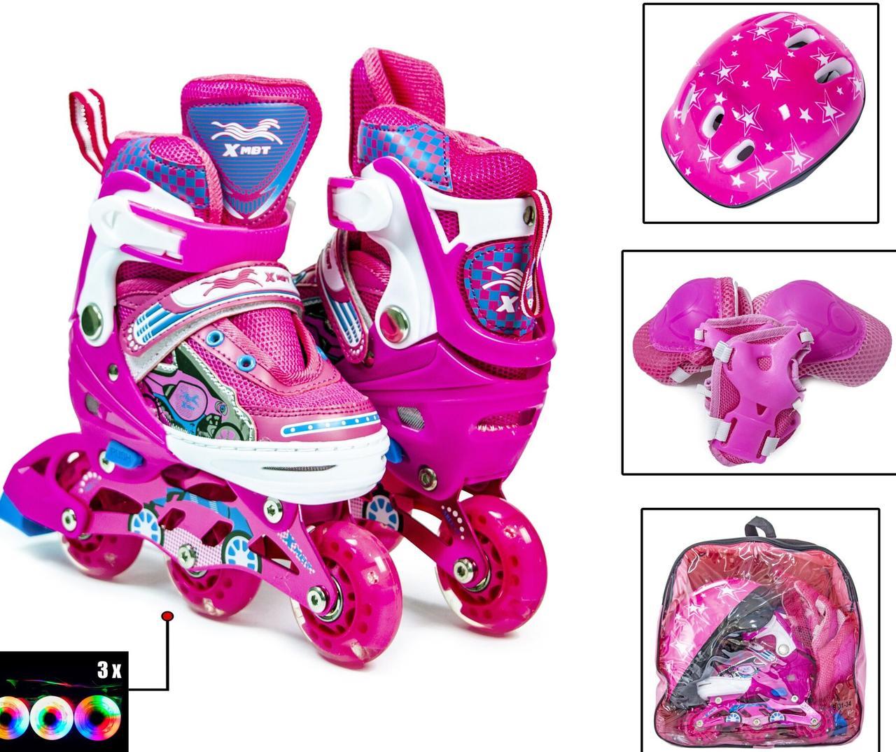 Детские ролики 28-31  р - Комплект Раздвижных Роликов Sport Kids светящие колеса