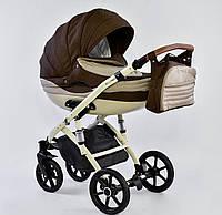 Детская коляска 2-в-1 Lumi (Люми лен) на пластиковой корзине коричневый - беж