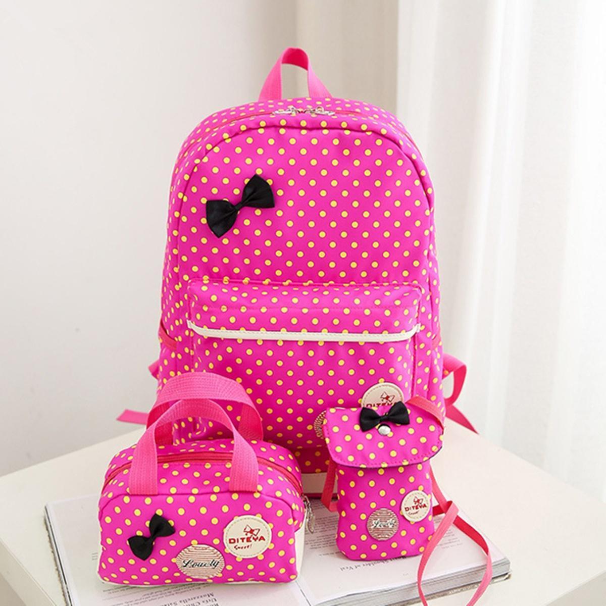 Стильный набор в горошек с бантиком, рюкзак, сумка чехол