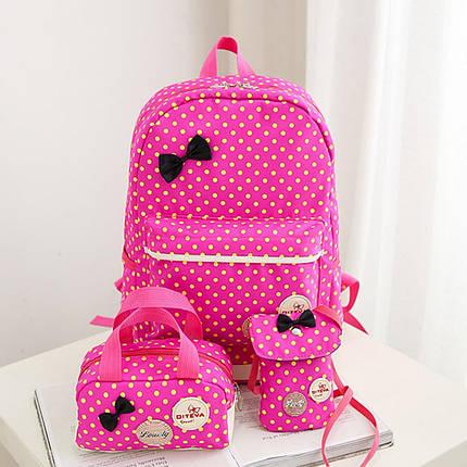 Стильный набор в горошек с бантиком, рюкзак, сумка чехол, фото 2