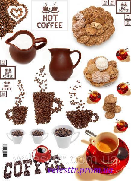 """Декупажная карта """"Завтрак.Кофе с печеньем"""""""