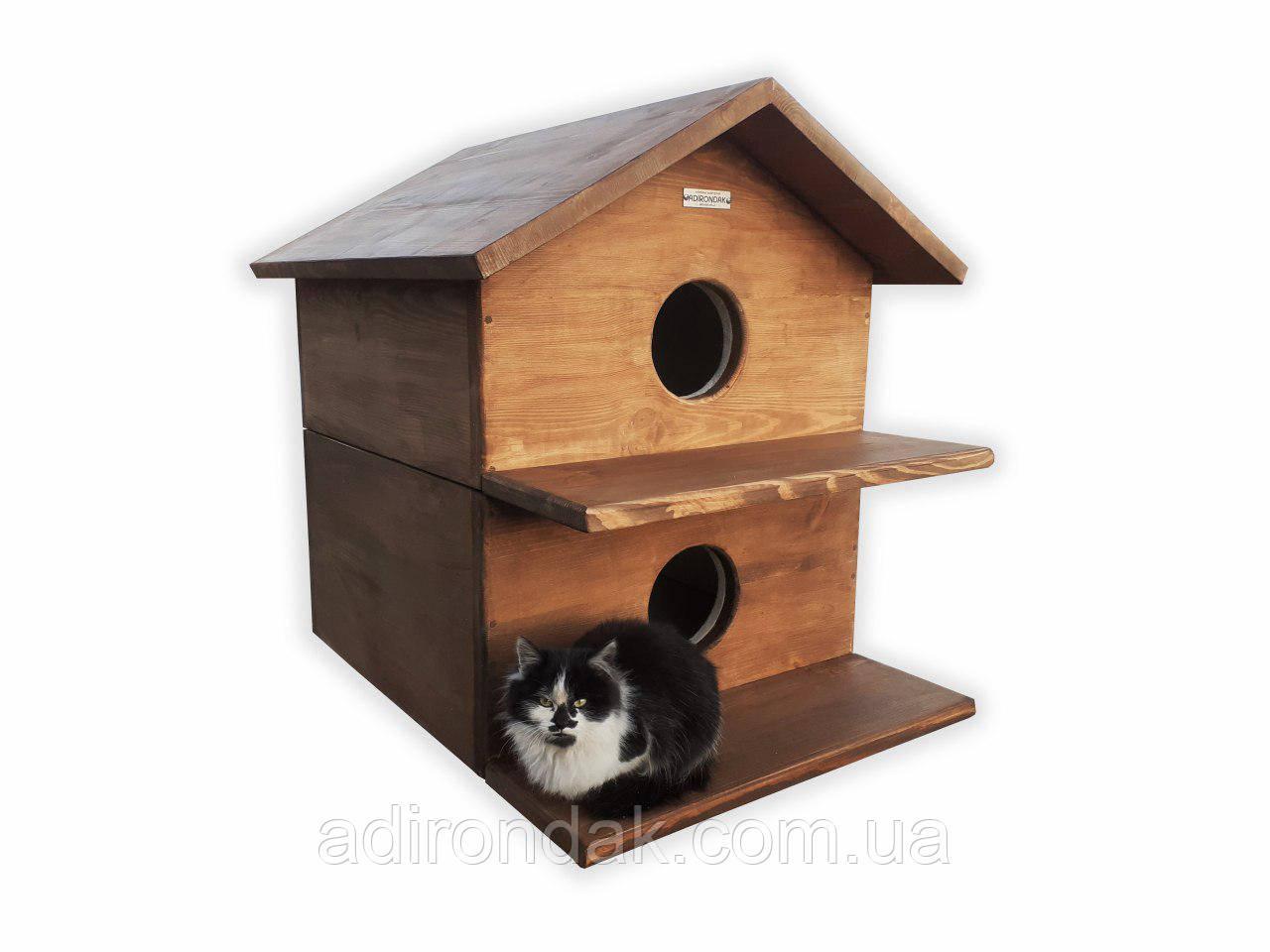 Домик для котов двухэтажный, утепленный 50х50 см
