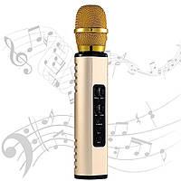 Караоке микрофон Losso K6 Premium золотой (стерео звук)