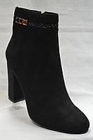 Черные  ботинки  из экко-замша с темными камушками на каблуке  , фото 1